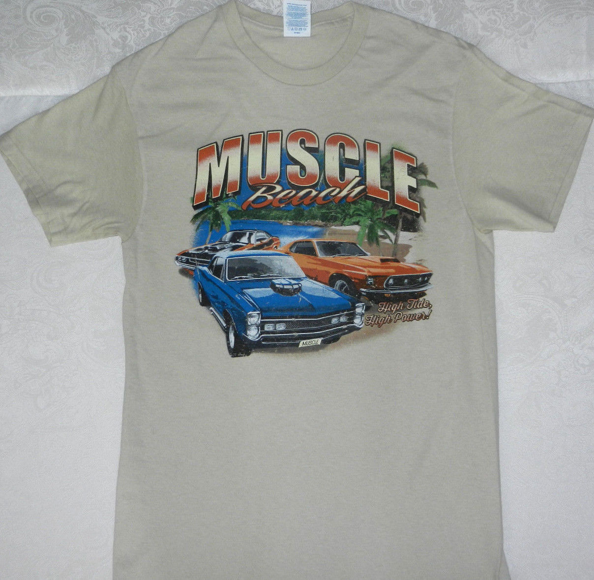 "Primary image for MUSCLE CAR T SHIRT "" MUSCLE BEACH HIGH TIDE HIGH POWER """