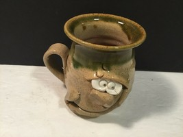 "Crazy Fun Face Pottery Cup Mug Wales 3.75"" Tall x 3.25"" diam CUTE - $17.35"