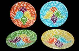 4 CASABLANCA Helen James Glass Paisley Snack Plates Different Colors NIB - $26.99