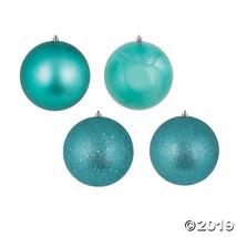 "Vickerman 4"" Teal 4-Finish Ball Christmas Ornament - 12/Box - $34.00"
