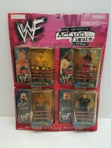 New WWF BONE CRUNCHIN Figure Superset 1999 Jakks KANE ROCK Shamrock Big Boss Man