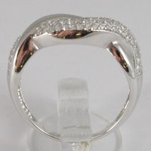 WHITE GOLD RING 750 18K, VERETTA WITH ZIRCON CUBIC, BRAIDED, UNDULATED image 3