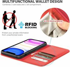 """SHIELDON iPhone 11 (5.8"""") Pro Case with Kickstand, Genuine Leather, Red image 3"""