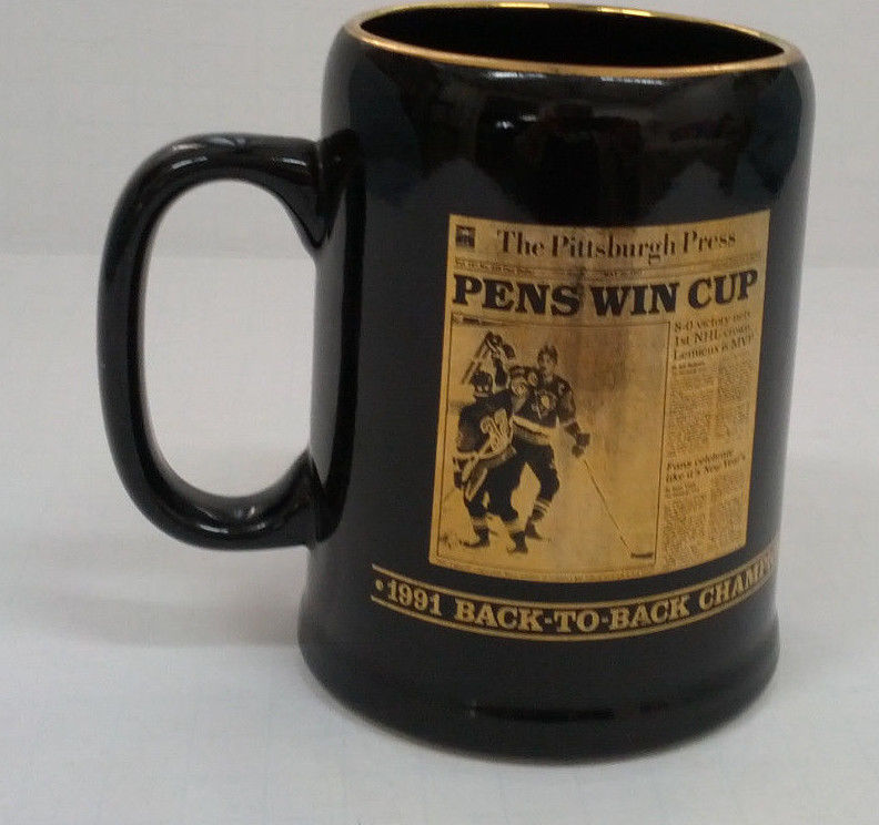 Primary image for 1991 -1992 back to back  champions Pittsburgh penguins black mug stein cup