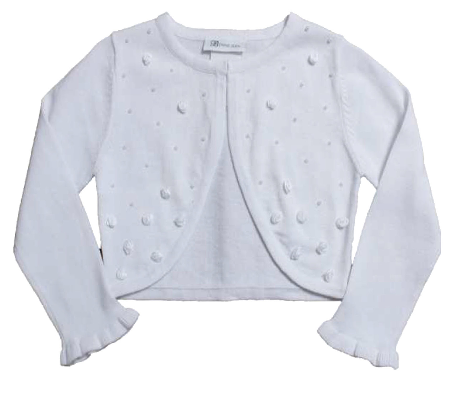 Bonnie Jean Big Girl Tween 7-16 White Pearl Rosette Knit Cardigan Sweater