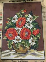 """Poppy and Daisy Needlepoint Canvas 16"""" x 24"""" Bernat 14 Mesh Penelope 11.128 - $12.36"""