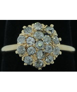 Art Nouveau (ca. 1900) 14K Yellow Gold European Cut Diamond Cluster Ring... - $520.00