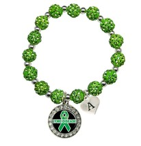 Custom Lyme Disease Awareness Green Bling Bracelet Jewelry Choose Initial Family - $13.80+