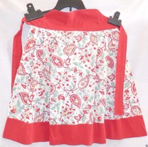 Vintage Apron, Half Hostess, Red Cotton & Paisley Print, Well made, Retro - $17.99