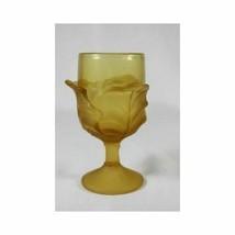 Vintage Carnival Glass Brown Leaf Motif Stemware Wine Goblet - $29.69