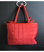 Lancome Red Quilted Contrasting Patent Leather Tote Bag - $9.72