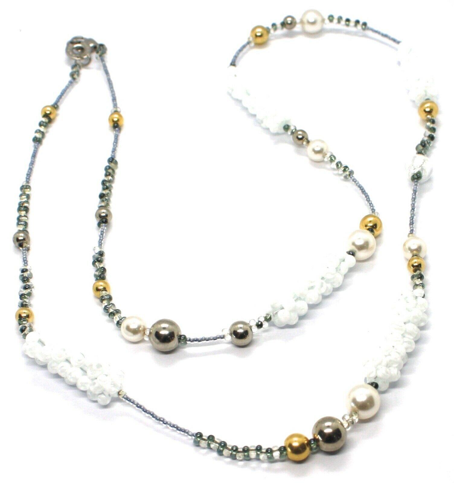 Necklace Antique Murrina, CO746A05, Vines, Spheres, White, 90 cm, Glass Murano