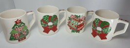 Vintage 1983 Enesco Quilted Garden Patch Large Mugs Lot Of 4 Holiday Christmas - $12.19