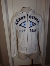 Aeropostale Surf Team Men M White Hoodie Sweat Jacket Long Sleeve - $14.99