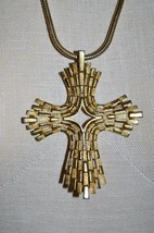 Vintage Rare CROWN TRIFARI Modernist Crucifix Cross Choker Necklace  - $74.25