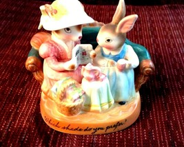 Cherished Moments Avon Easter Bunny Mom DaughterTea Party Figurine Porce... - $14.80