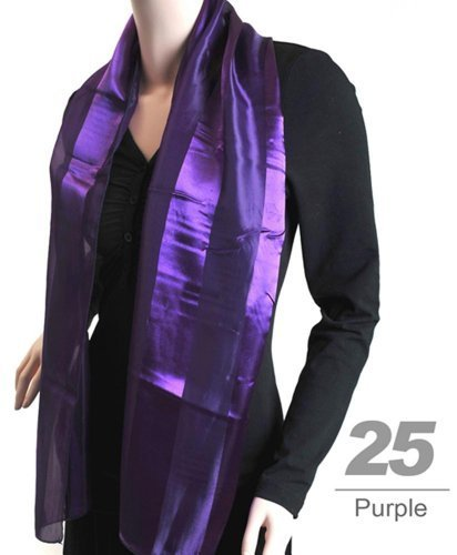 Women's Purple Striped Sheer Polyester Satin Scarf SPS1301