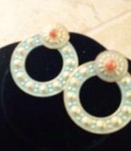 turquoise colored hoop design earrings pierced - $18.99