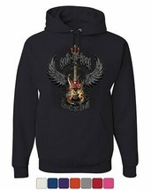 Sold My Soul to Rock & Roll Hoodie Demon Guitar Wings Trident Sweatshirt - $21.65+