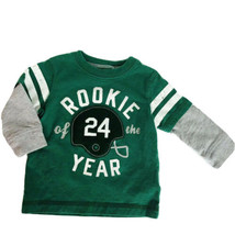 Carters Boys 6 Months Football Green Gray Rookie Long Sleeve Cotton Baby Top  - $9.16