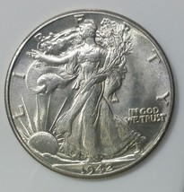 1942 Walking Liberty Half Dollar 90% Silver Coin Lot# E 33