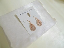 "Charter Club 1-1/2""Rose Gold Tone Teardrop Crystal Dangle Drop Earrings ... - $12.47"