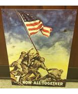 WW II Iwo Jimo War Bonds Ad Tin Sign Reproduction LIGHT SCRATCHED - $4.99