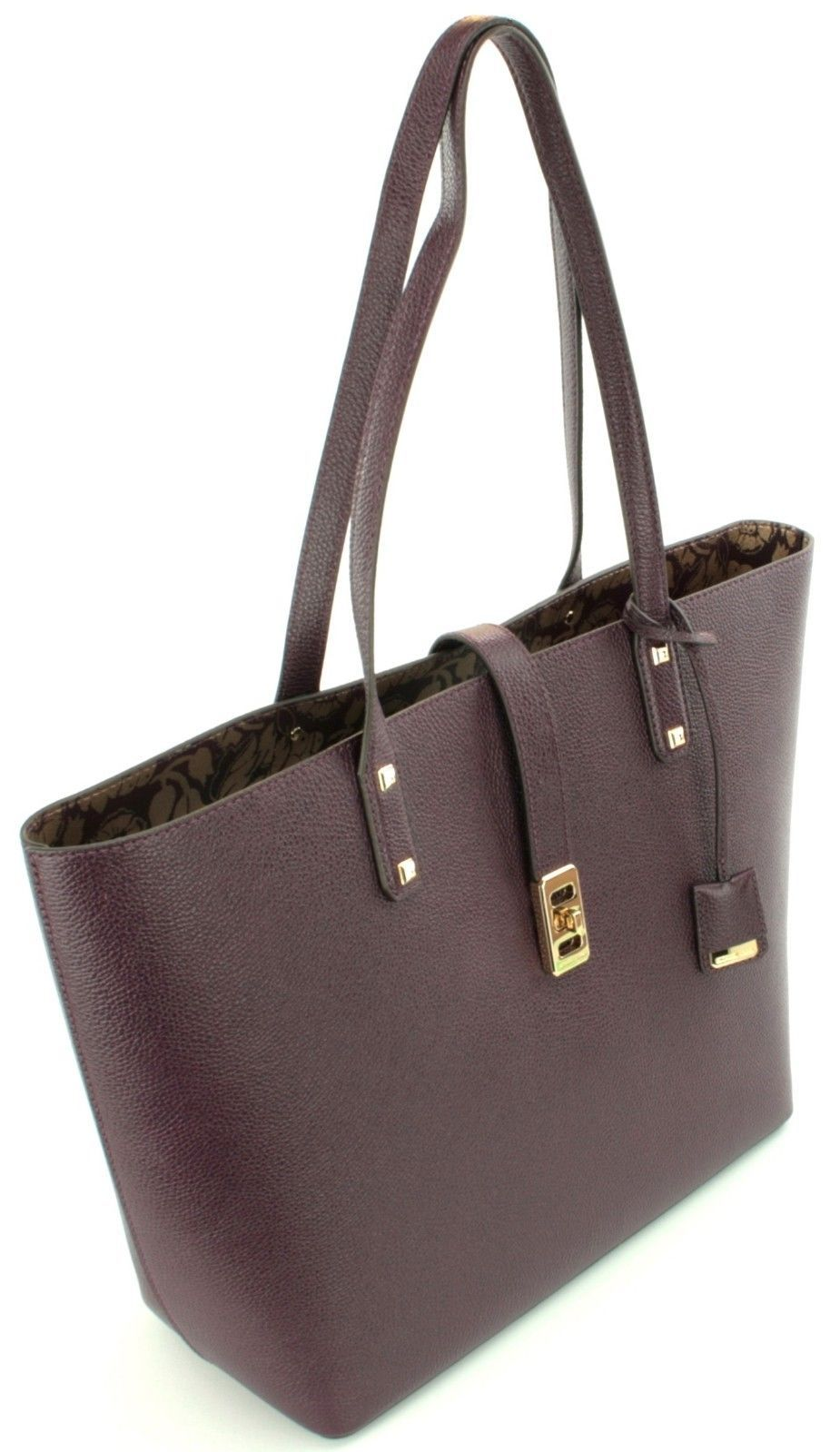Michael Kors Karson Large Shopper Tote Bag Leather Damson Purple Handbag
