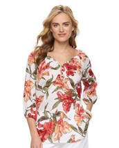 Chaps Tunic / Top Size: Medium Fresh Tropical Crinkle Blouse New - $58.00