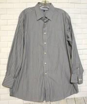Tommy Hilfiger Gray Blue Striped Cotton Long Sleeve Dress Shirt Size 16 32-33 L - $15.55