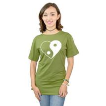 Three For Twelve Yin Yang Heart Junior's Green T-shirt NEW Size XL - $4.94