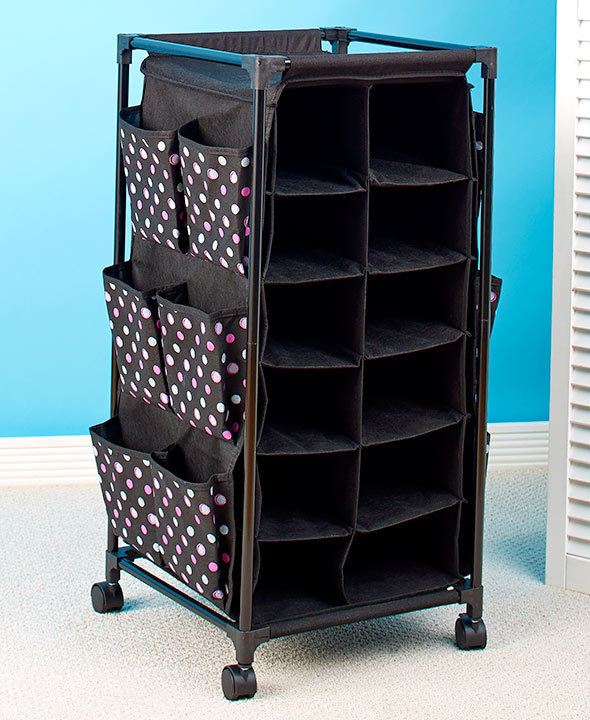 Fashionable Rolling Shoe Storage Organizer Polka Dots NEW - $37.48