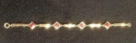 Vintage 12 K Gold Filled Bracelet With Red Stones - Gorgeous! - $26.04