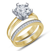 Round Cut 1.50Ct Diamond Yellow Gold Plated 925 Silver 2Pcs Engagement R... - $87.99