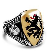 Heraldic Lion Mens Shield ring   sterling silver Bronze - $70.00