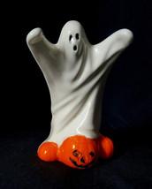 White Ghost on  Pumpkins Ceramic Sculpture Halloween Decorative Figurine  - $14.84