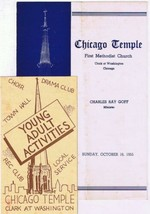 Chicago Temple First Methodist Church Order Of Service 1955 Youth Flyer - $2.84