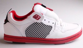 Supra Mens Leather White Red Cruizer Lo Top Skateboard Shoes Sneakers New in Box
