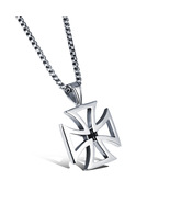 Mens Necklace Stainless Steel Vintage Hollow Cross Jesus Pendant Link Chain - $12.90