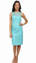 Maggy London Circle Dot Mesh Organza Scuba Blue Sheath Dress, sz6, #B3030 - $48.29