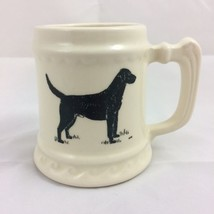 Ceramic Cream Stein Mug Black Dog Heavy Barware Pen Holder - $18.69
