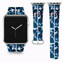 Bape Shark Apple Watch Band 38 40 42 44 mm Series 1 - 5 Fabric Leather Strap 1 - $29.97
