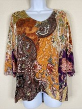 Chico's Womens Size 1 Floral Paisley Pattern Blouse 3/4 Sleeve V Neck - $19.80