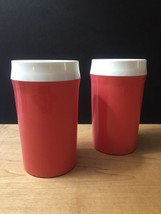 Vintage 60s set of 2 Coral NFC Insulated Tumblers image 1