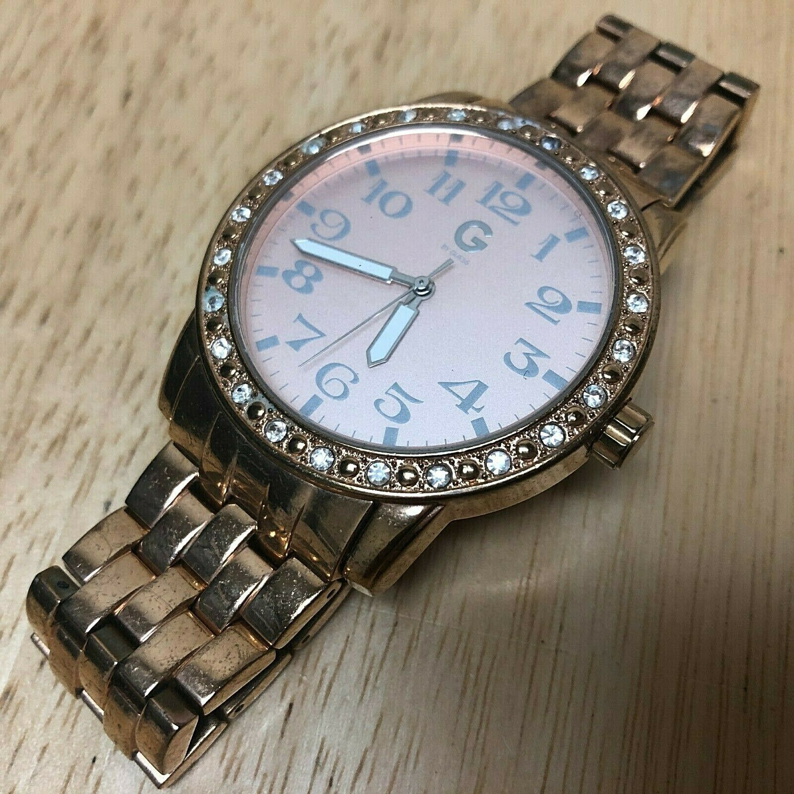 G By GUESS Lady Rose Gold Tone Rhinestone Analog Quartz Watch Hours~New Battery