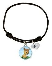 Custom Baby Deer Fawn Black Unisex Bracelet Jewelry Gift Choose Initial Charm - $13.94