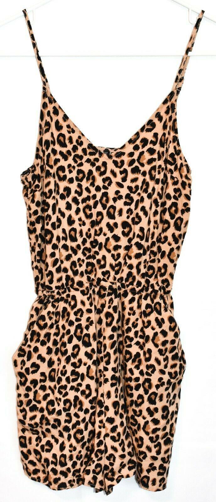 H&M Divided Women's Leopard Animal Print Playsuit Jumpsuit Romper Size 0