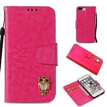 iPhone 7 Case,Gloryshop Bling Crystal Owl Wallet Cover Flip Folio Leathe... - $7.91