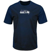 Men's Majestic Cool Base Navy Blue Seattle Seahawks Its Our Goal Tee MSR... - $21.99