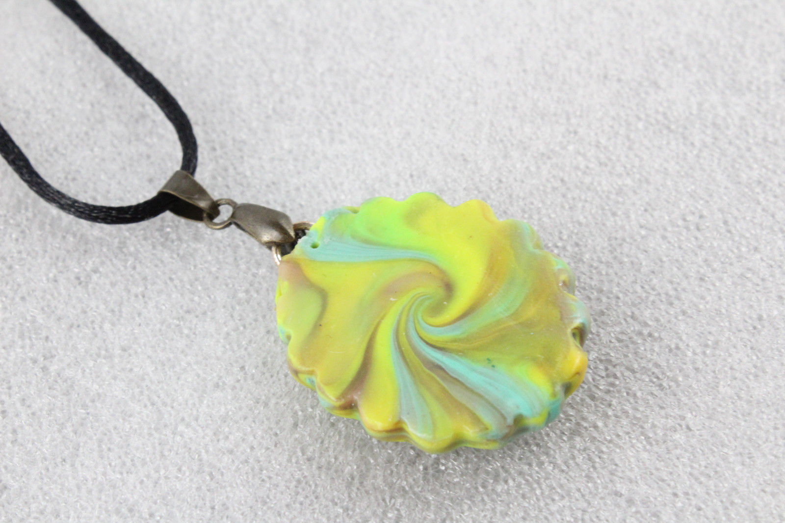 Elegant Handmade Premo Clay Pendant Necklace+ Cord & Extension #EM011
